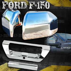 For 2017 Ford F 150 Chrome Top Half Mirror Cover Chrome Tailgate Handle Cover