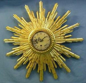 Rare Mid 19th Century Clock Carved Wood Sunburst Gold Guild Painted Wow