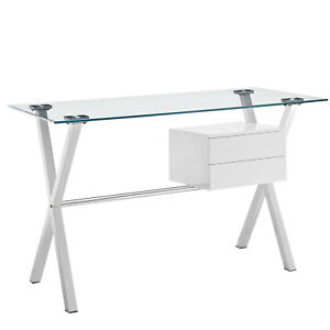 Stasis Glass Top Office Desk white Color