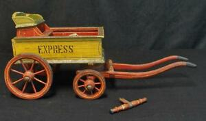 Antique Primitive Painted Wooden Express Wagon Child S Toy Wow