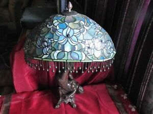 Magnificent Older Bronze Art Nouveau Maiden Lady Leaded Art Glass Table Lamp