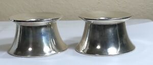 Pr Mid Century Gorham Sterling Silver Pyramid Candlesticks Candle Holders 829