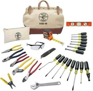 Klein Tools Electrical Tool Set 1 adjustable Wrench Canvas Bag 28 piece