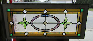 Antique Stained Beveled Glass Transom Window 8 Jewels 44 X 19 Salvage