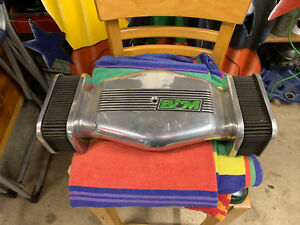 Vintage B M Finned Aluminum Low Profile Side Draft Air Cleaner Assembly