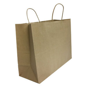 Kraft Brown Paper Recycled Vogue Shopping Gift Bags Set 100 Pc 16