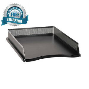 Rolodex Punched Metal And Wood Desk Tray Legal size Black Gunmetal e22615