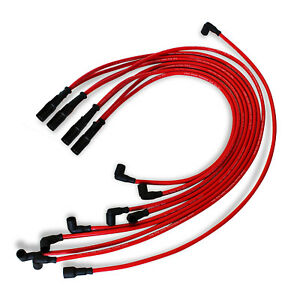 Hei Spark Plug Wires Set 90 To Straight For Chevy Sbc Bbc 350 383 400 454 V8 Red