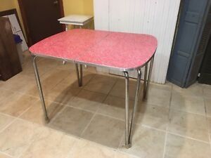 Mid Century Modern Kitchen Table Red Formica With Chrome Legs