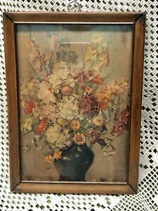 Antique Vintage Floral Flower Bouquet Wood Picture Frame Litho Art Nouveau