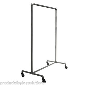 Pipe Pipeline Single Rail Rolling Clothing Garment Display Rack Grey
