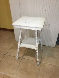 Primitive Antique Side Table In Old Paint
