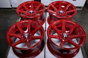 15 4x100 4x114 3 Red Rims Fits Honda Fit Civic Insight Jetta Aveo 4 Lug Wheels