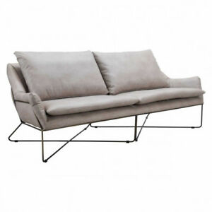 Gray Leather Sofa Office Couch Modern Furniture 87 X 34 h