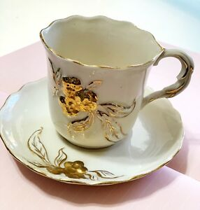 Vintage Bone China Shafford Tea Cup With Sparkling Gold Trim