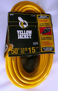 Yellow Jacket 50 Ft 12 3 Sjtw Outdoor Heavy duty Lock Jaw Extension Cord new