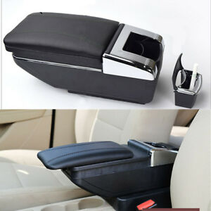 Car Armrest Cover Center Console Storage Box Adjustable Cup Holder Pu Leather