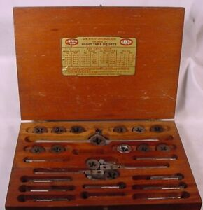 Vintage Handy Tap Die Set mfg Harry L Hanson wooden Case W decals