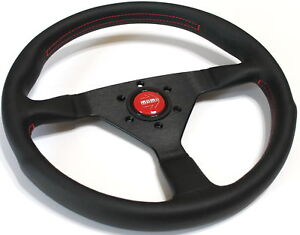 Momo Steering Wheel Monte Carlo Black Leather With Red Stitching 350mm