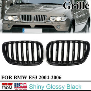 For Bmw X5 E53 2004 2005 2006 Gloss Black Front Kidney Grille Mesh Grill Vent