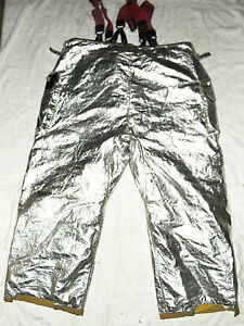 Morning Pride Silver Aluminated Rip Stop Fire Fighting Pants Nomex Size 44 X 30