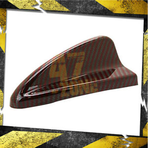 Universal Real Red Carbon Fiber Roof Dummy Shark Fin Antenna Cover Trim Decal