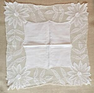 Antique Lace Handkerchief Wedding White Netting Handmade Mint Condition