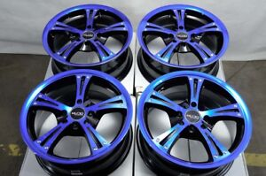 15 4x100 4x114 3 Blue Wheels Fits Accord Civic Spark Tiburon Miata 4 Lug Rims