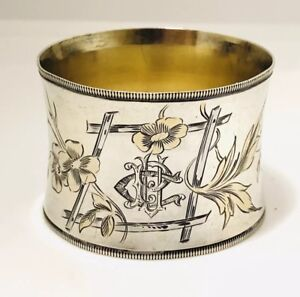 Antique French Claude Doutre Roussel 800 Silver Parcel Gilt Napkin Ring C 1895