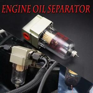 New Engine Oil Separator Catch Can Reservoir Tank W Breather Filter Baffled Us