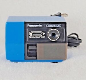 Panasonic Kp 123 Pencil Sharpener Vintage Blue Auto stop Shavings Drawer Tested