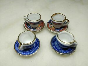 Vintage Japanese Porcelain Mini Tea Cup And Saucer Sets Two Matching Sets