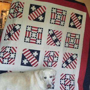 American Red White And Blue Quilt Hand Stitched