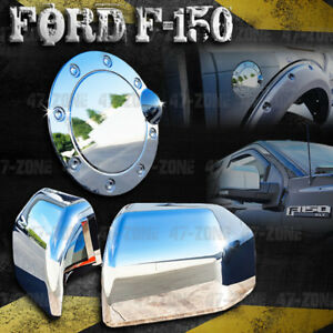 For 2018 Ford F 150 Chrome Top Half Mirror Cover Chrome Gas Door Cover