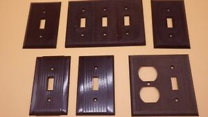 Vintage Lot Brown Bakelite Outlet Switch Plate Cover Ribbed Art Deco