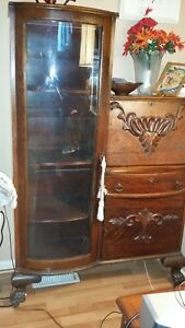 1900 1930 Antique Secretary Side By Side Curved Glass Bookcase Curio Cabinet