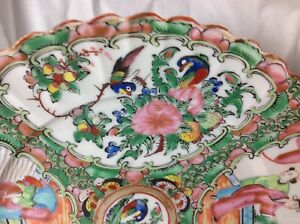 Antique 19th Chinese Old Export Rose Medallion 9 5 Scallop Edge Porcelain Plate