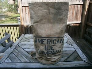 Vintage Canvas Ice Bag Galvanized Steel Base Made By American Ice Company Usa