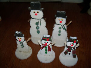 5 Primitive Country Snowman Winter Folk Art Hand Painted Decorated