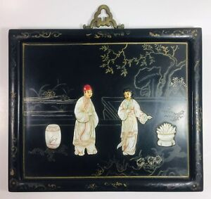 Japan Hand Carved Inlaid Mother Of Pearl On Black Lacquer Wall Art