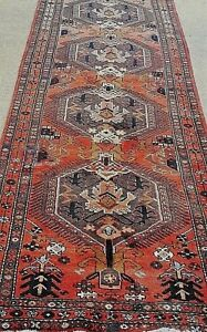 3 X11 Antique Persian Kurdish Tribal Malayer Hand Knotted Rug Runner Wool 1940