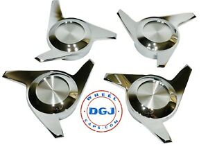 3 Bar Cut Chrome Knock Off Spinner Caps For Lowrider Wire Wheels M