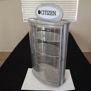 Vintage Citizen Watch Rotating Plastic Acrylic Metal Top Display Case Dual Door