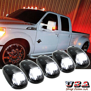 Smoked Lens Rooftop Cab Running Lights Led White For Dodge Ram 1500 Ford F 150
