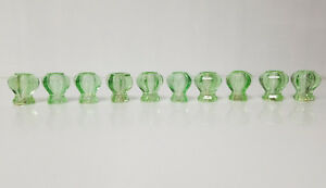 Vintage Green Art Deco Glass Drawer Cabinet Knobs Qty 10
