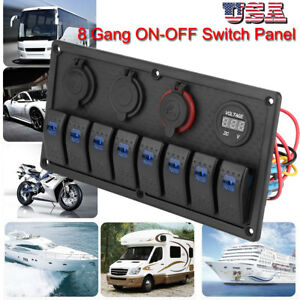 8 Gang Blue Led Rocker Switch Panel Circuit Breaker Car Boat Marine Waterproof