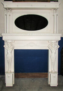10022 801 Antique European Hand Carved Wood Fireplace Surround Circa 1920s