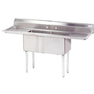 Advance Tabco 2 Compartment Sink 18 Gauge 18 x18 Bowl Two 18 Drainboards