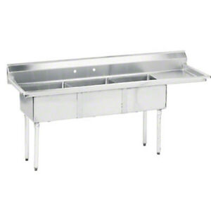 Advance Tabco 3 Compartment Sink 18 Gauge 16 x20 x12 Bowl 18 Drainboard
