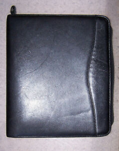 Day timer Black Leather Verona Planner 11x13 Zipper Closure Very Good